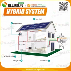 Hybrid 120KW solar power system grid tie with storage system